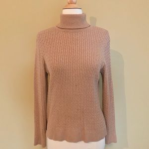 Sweaters - Tan Cable Front Long Sleeve Turtle Neck Sweater